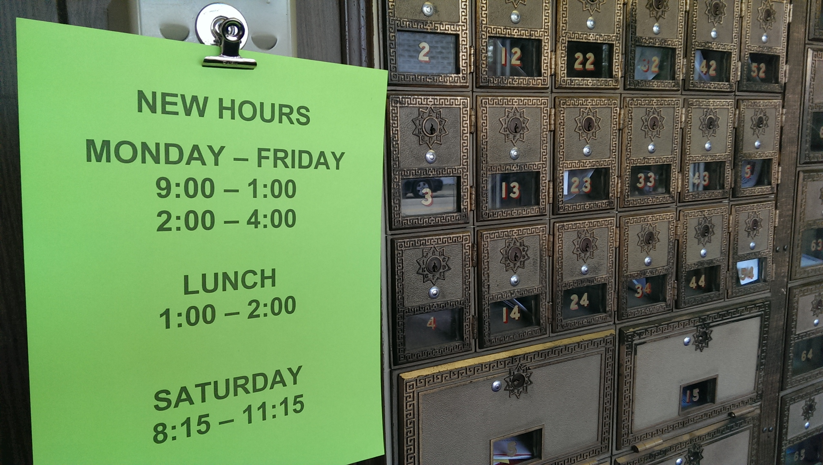 Post Office NEW HOURS